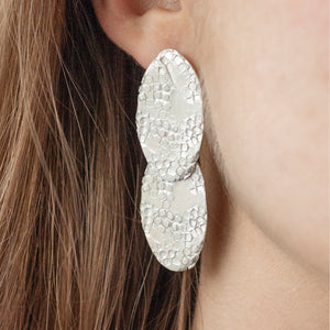 SYNTHESIS Silver Long Earring with two textured ovals on a model | IMPRINT Collection | Margo Orlovik Contemporary Jewellery