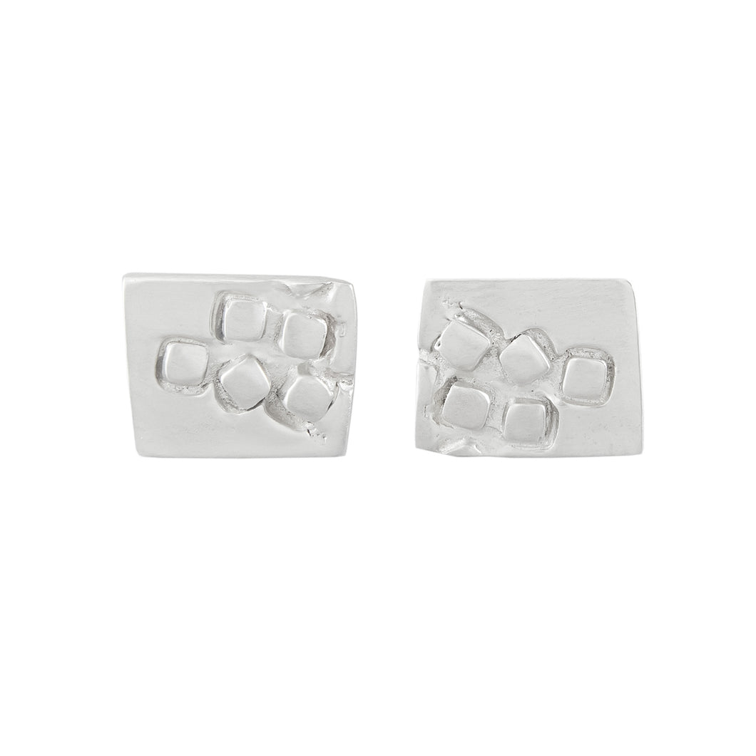 Small rectangular silver stud earrings with square pattern | Imprint Collection | Margo Orlovik
