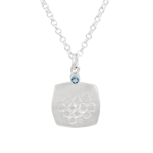 Rounded square pendant with square pattern and dark aquamarine, unique, one-off | Imprint Collection | Margo Orlovik