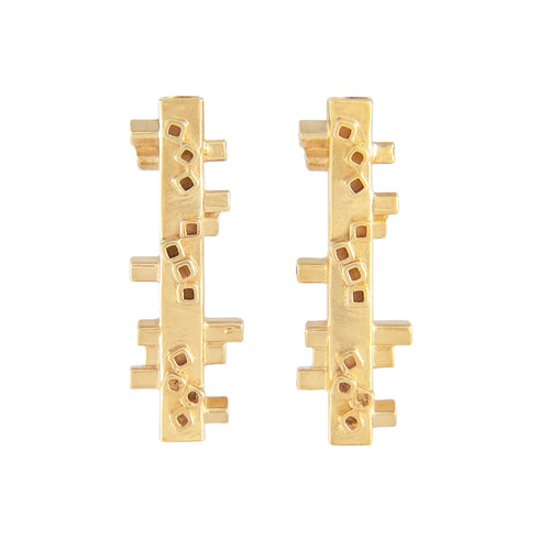 Medium length square tube stud earrings in gold vermeil Colony Collection Margo Orlovik Contemporary Jewellery