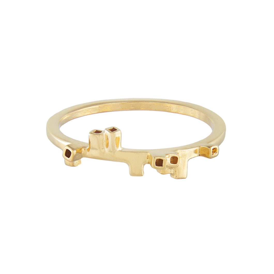 Thin ring in square wire with rectangular tube pattern in gold vermeil | Colony Collection | Margo Orlovik Contemporary Jewellery