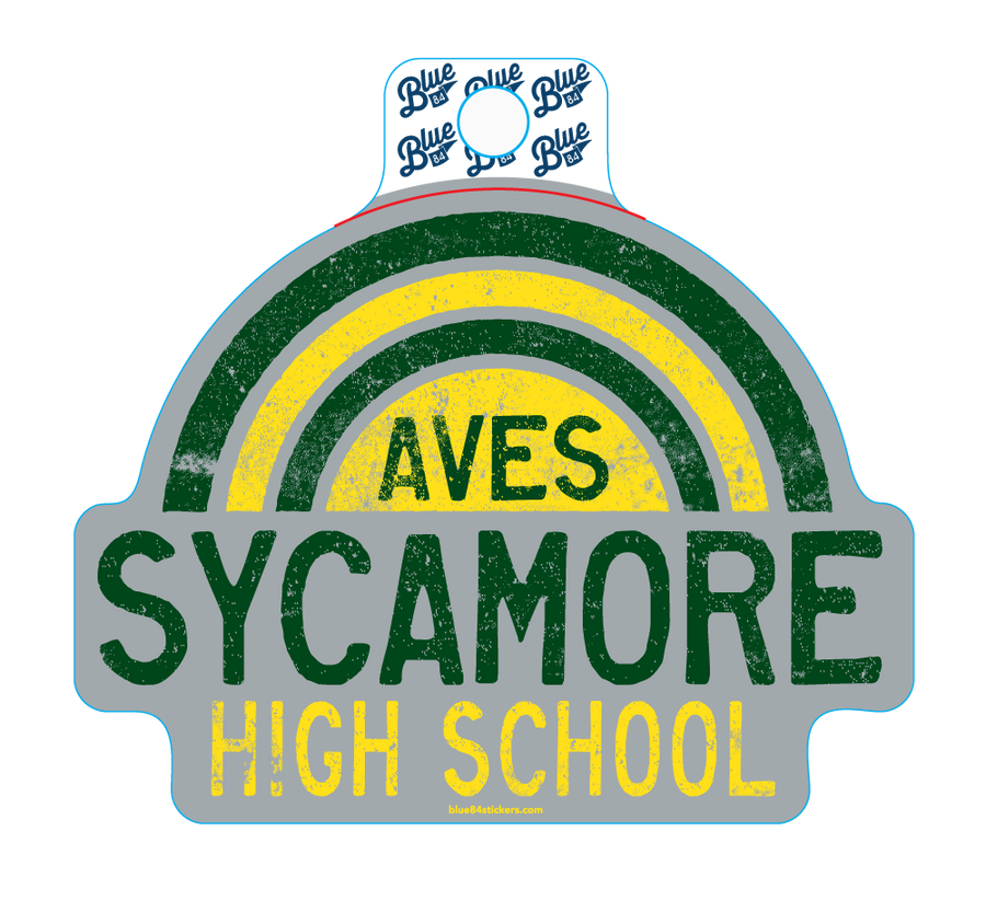Aves Sycamore HS Green + Gold Rainbow Sticker
