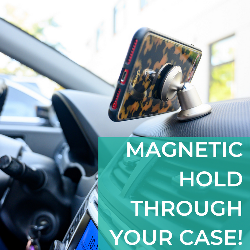Magnetic Phone Mount with Car Charger & Universal Cable For Your Car - Silver
