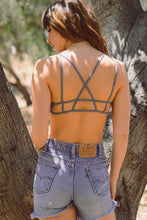 Load image into Gallery viewer, Stone Washed Denim Strap Bralette