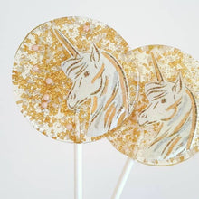 Load image into Gallery viewer, Gold & Pink Unicorn Lollipop: Strawberry Flavor
