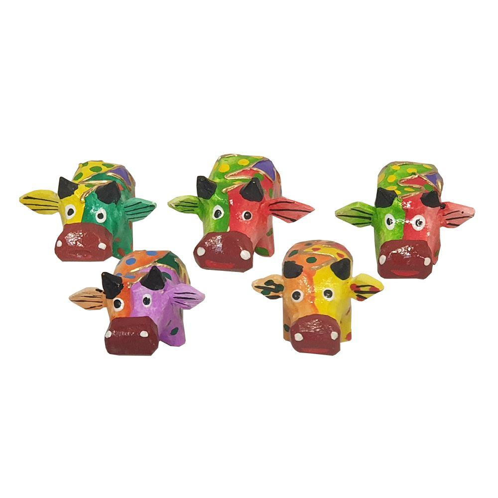 Vie Naturals Abstract Cow Carving, Painted - Set of 5, 10 cm