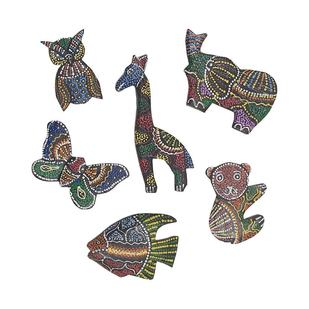 Vie Naturals Handmade Aborigine Design Animal Fridge Magnet - Set of 6