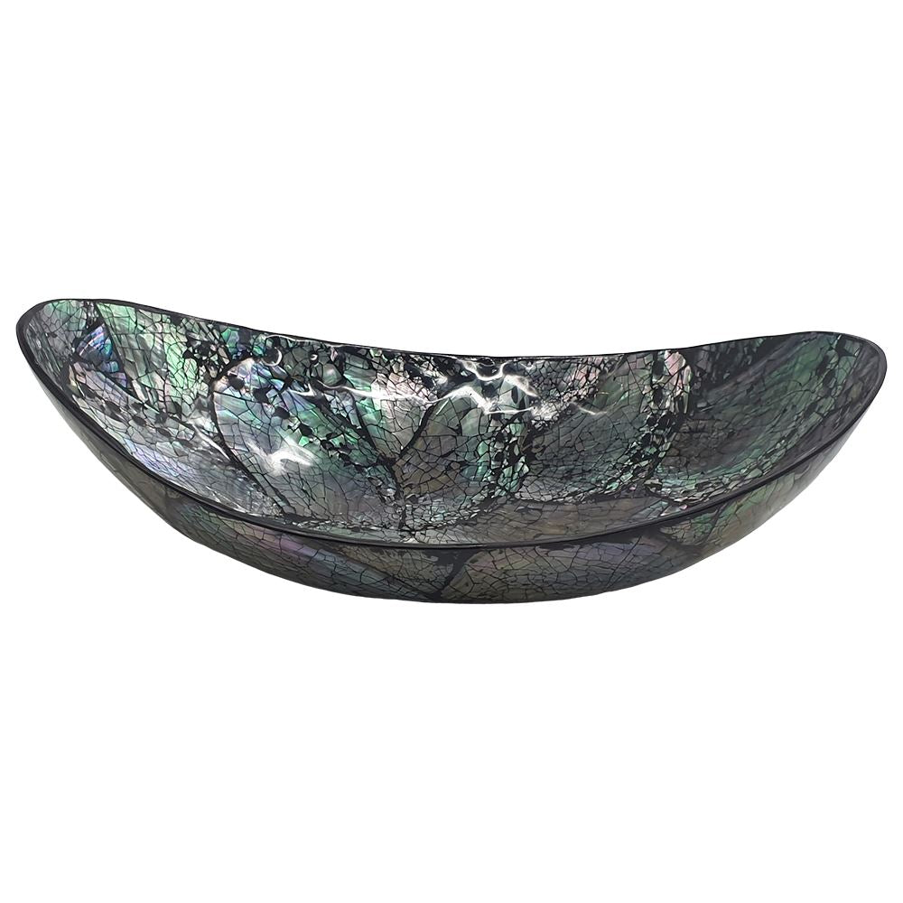 Vie Naturals Capiz Inlay Decorative Bowl, Boat Shaped, 25cm, Black/Silver