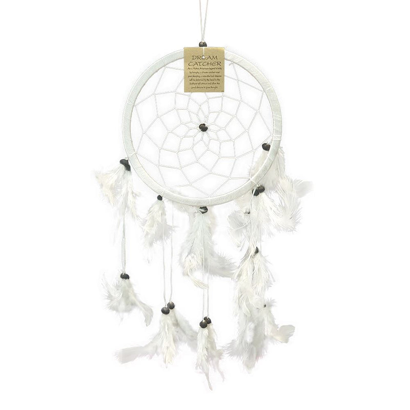 Vie Naturals Dream Catcher with Stone, 16cm Ring, White