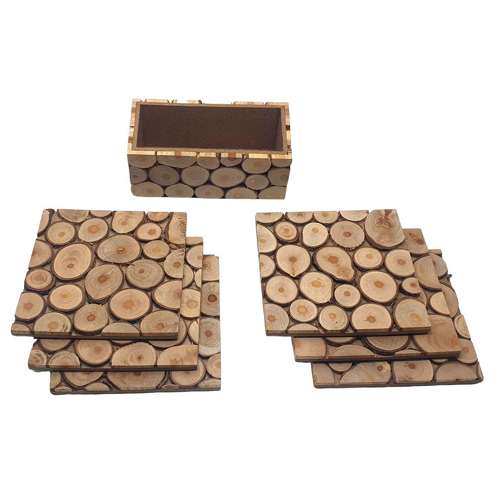 Vie Naturals Handmade Sliced Wood Coaster Set with Holder, Set of 6, 10cm, Square