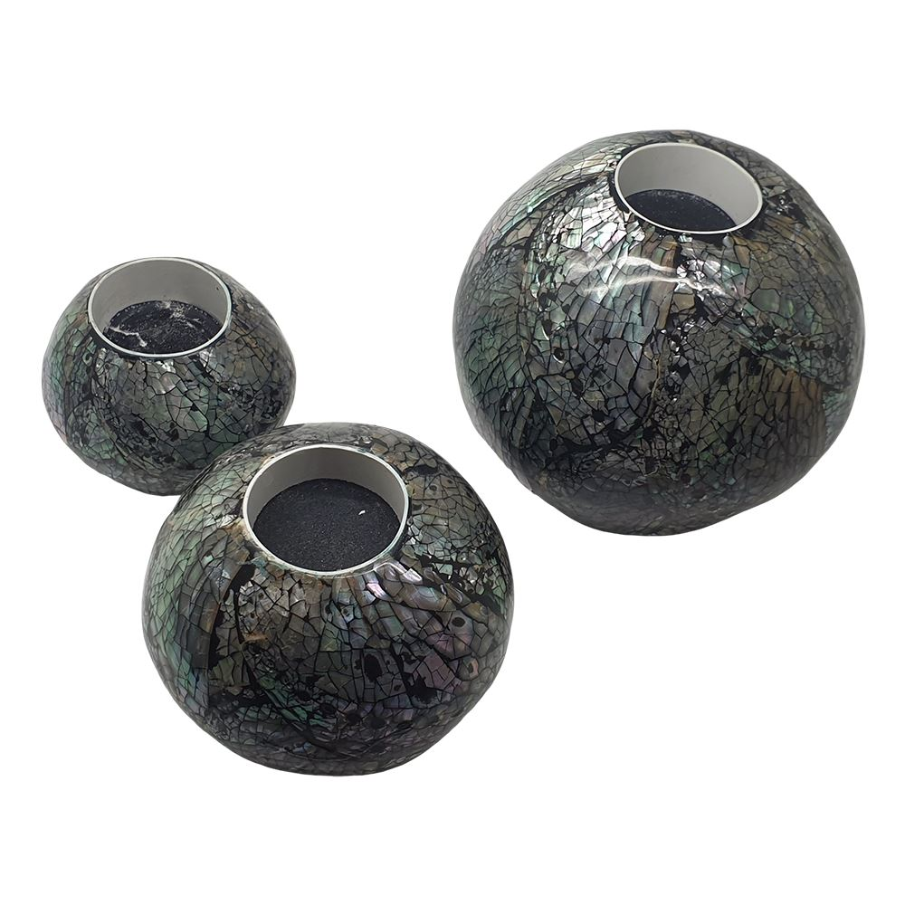 Vie Naturals Capiz Inlay Tealight Spheres, Set of 3, 11/8/6cm Diameter, Black/Silver