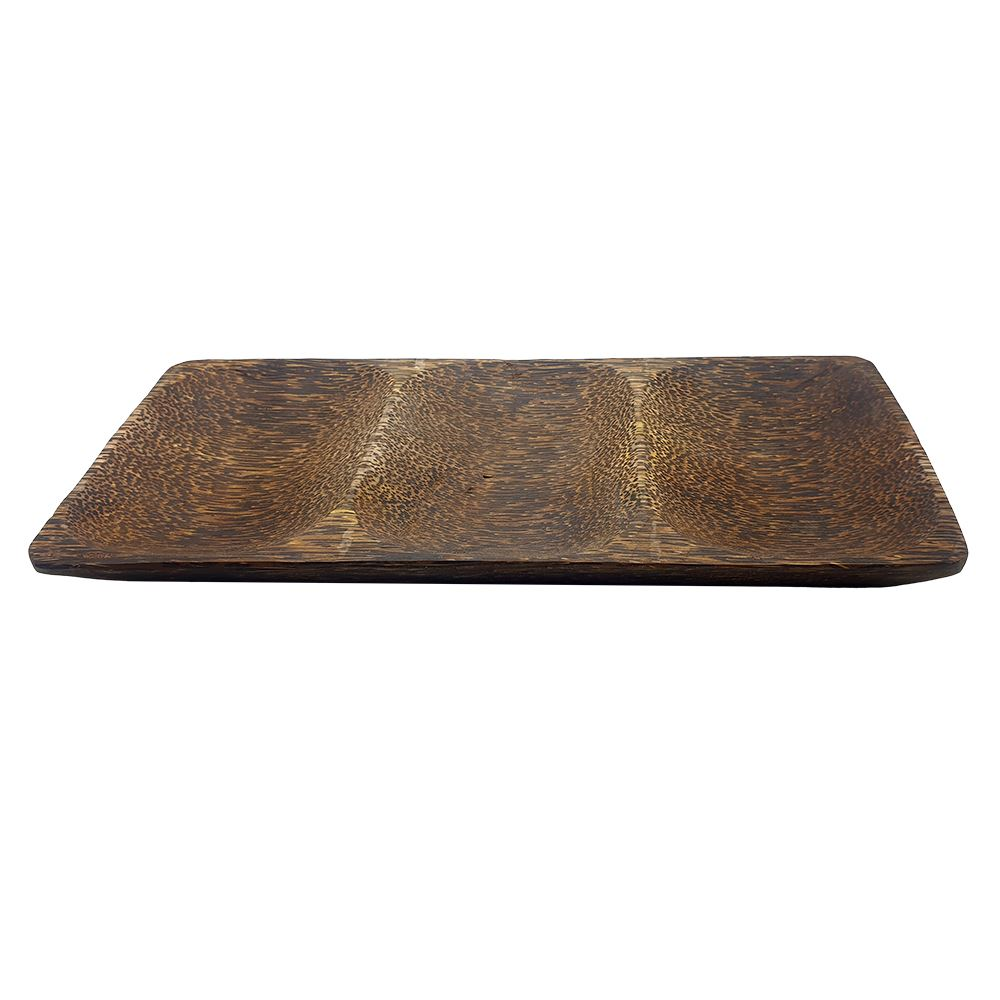 Vie Gourmet Sono Wood Partitioned Rectangular Plate, 30x14cm, Food Service by Global 1st