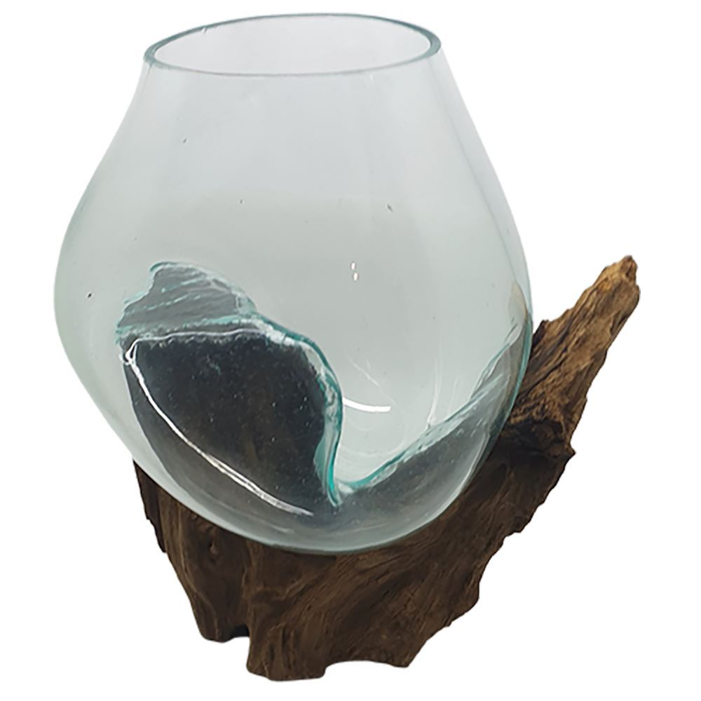 Vie Naturals Molten Glass Terrarium on Balinese Gamal Wood, Bowl, 15cm Height