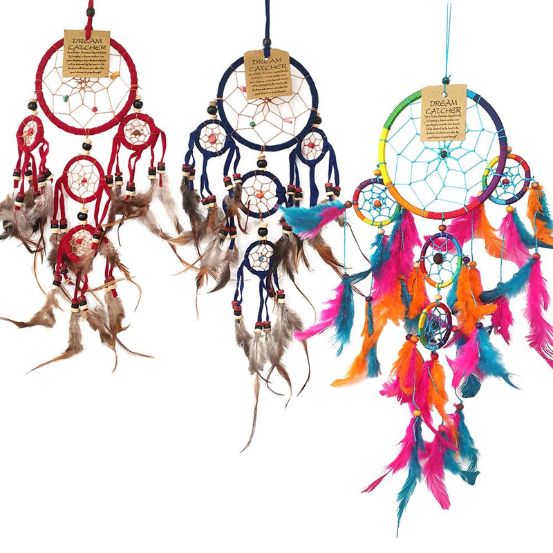 Vie Natural Dream Catcher Bundle, 3 Items - 9cm (Red), 9cm (Blue), 11cm (Rainbow)