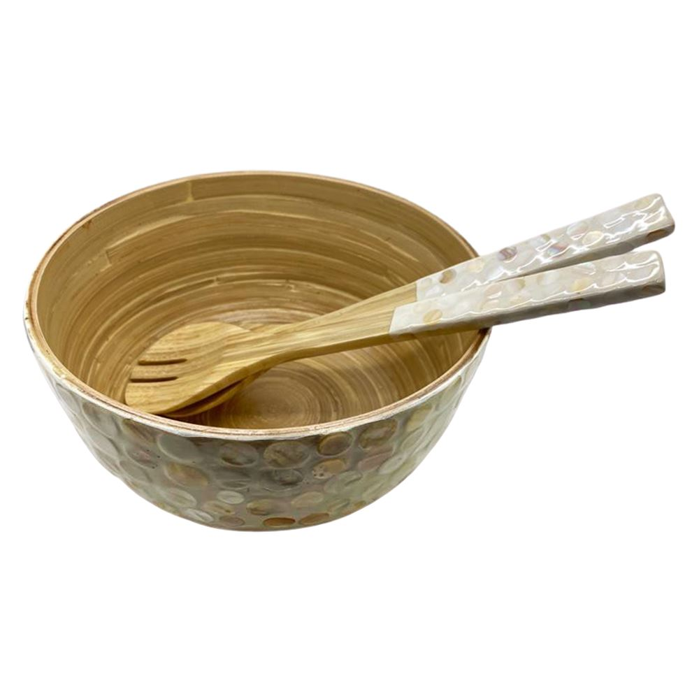 Vie Gourmet Bamboo Salad Bowl, 23x10cm, White, with Matching Salad Servers