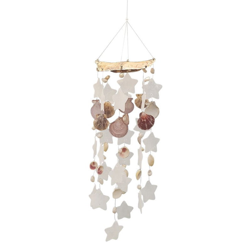 Vie Naturals Capiz & Seashell Wind Chime, 55cm Hanging Height, White