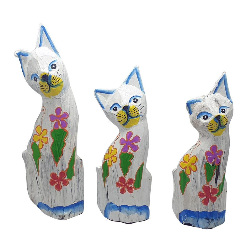 Vie Naturals Sexy Cat Carving, White - Set of 3, 20/18/15cm