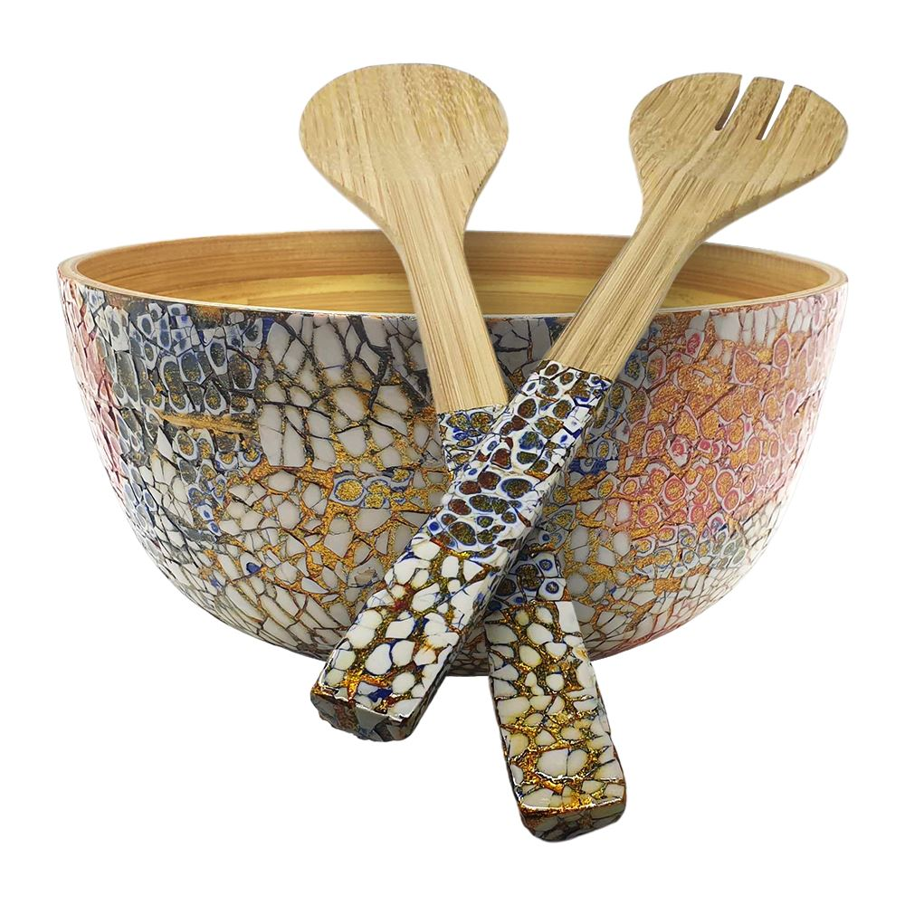 Vie Gourmet Bamboo Salad Bowl, 23x10cm, Multicolour, with Matching Salad Servers
