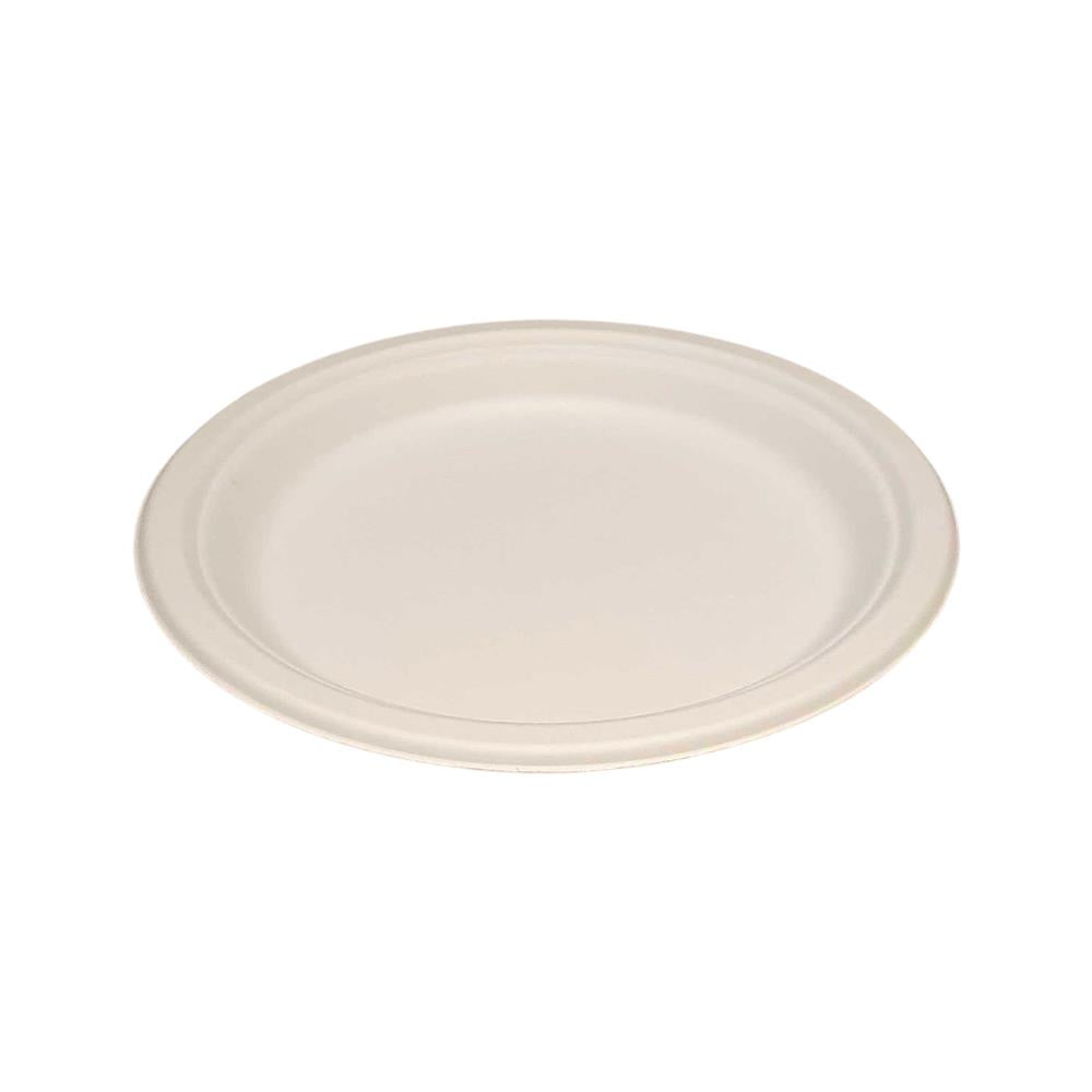 Vie Gourmet Compostable Round Bagasse Plate 7 White - 50 pcs by  Global 1st