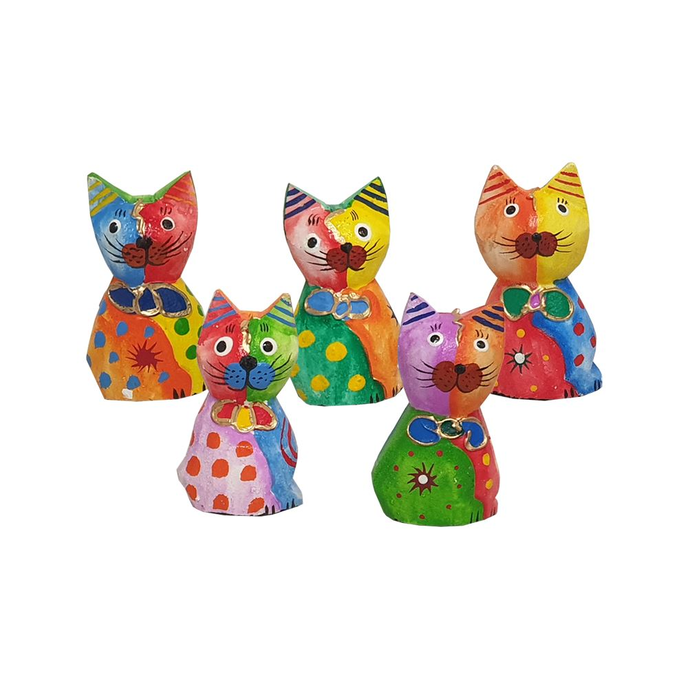 Vie Naturals Abstract Cat Carving, Painted - Set of 5, 10 cm