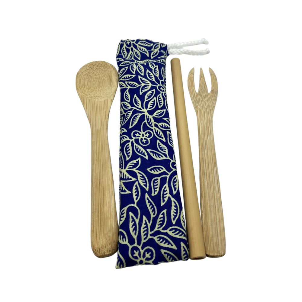 Vie Gourmet Reusable Bamboo Cutlery Set in a Batik Pouch, Kitchen & Dining by Global 1st