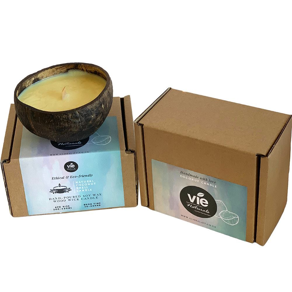 Vie Naturals Handmade Candle in a Natural Coconut Shell, Vanilla by  Global 1st
