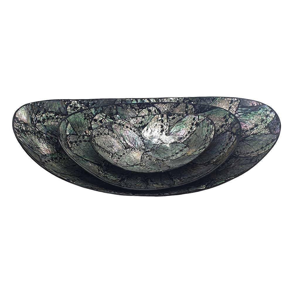 Vie Naturals Capiz Inlay Decorative Bowls, Boat Shaped,  Set Of 3, 35/25/18cm Diameter, Black/Silver by  Global 1st