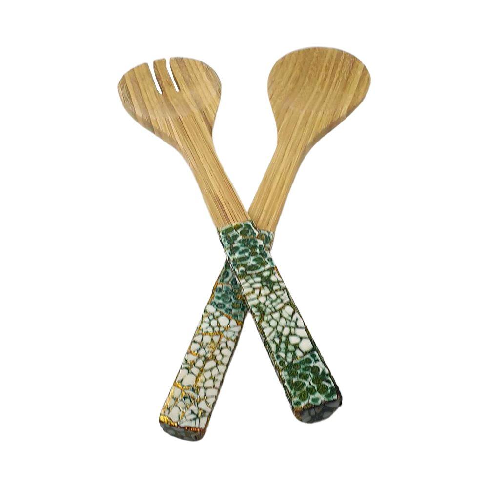 Vie Gourmet Bamboo Salad Servers, Dark Green