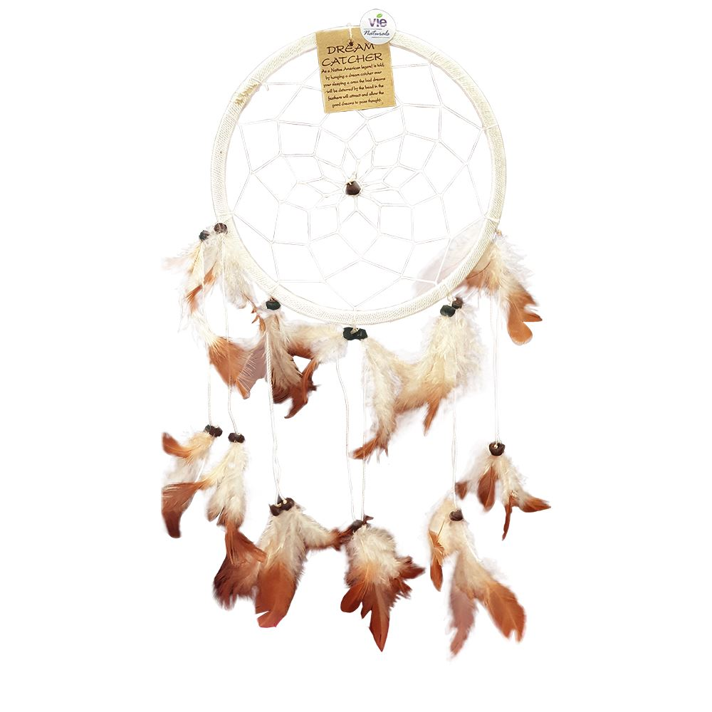 Vie Naturals Dream Catcher with Stone, 16cm Ring, Natural