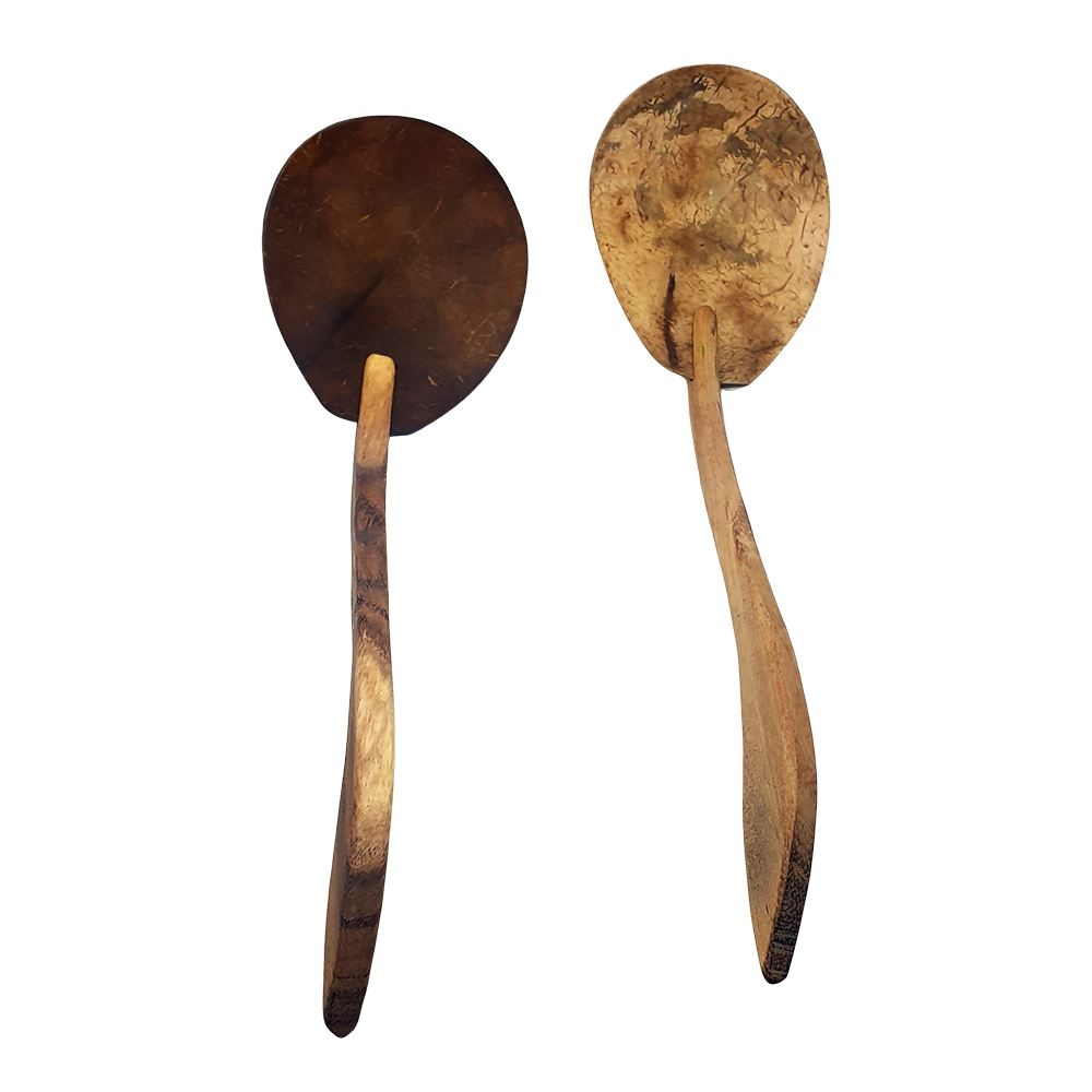 Vie Gourmet Sono Wood & Coconut Shell Spatula, Set of 2, 30cm