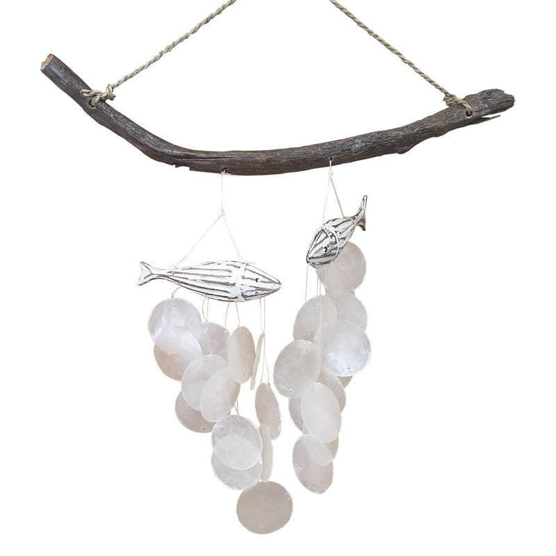Vie Naturals Fish with Capiz Shell Wind Chime, 45cm Hanging Height