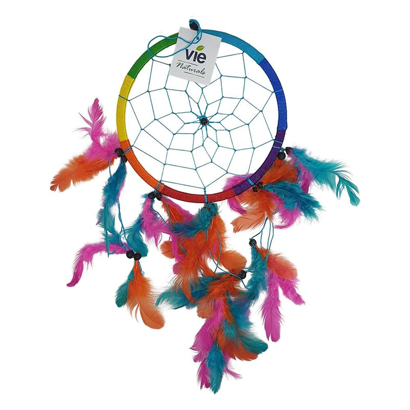 Vie Naturals Dream Catcher with Beads, 16cm Ring, Rainbow