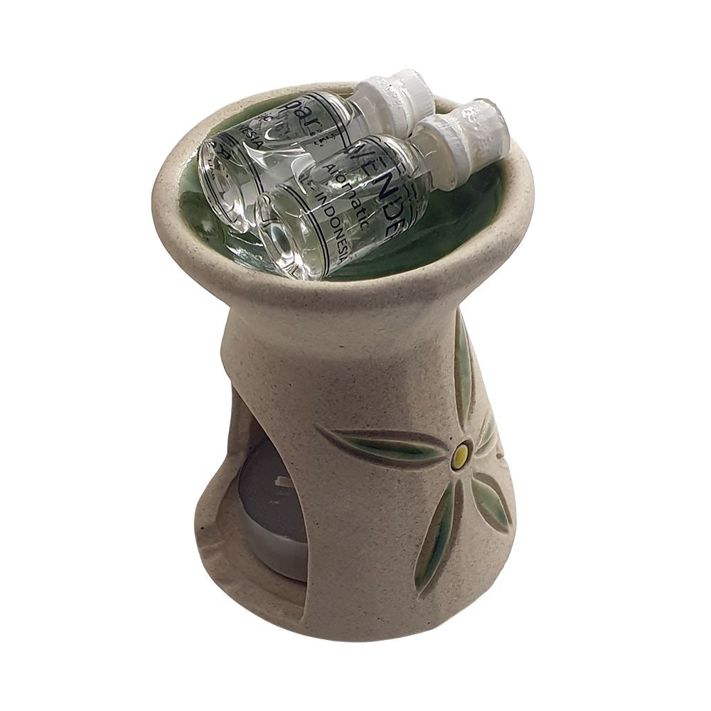 Vie Naturals Bali Ceramic Oil Diffuser, 9cm, with Tealight & 2 Bottles of Fragrance Oils by  Global 1st