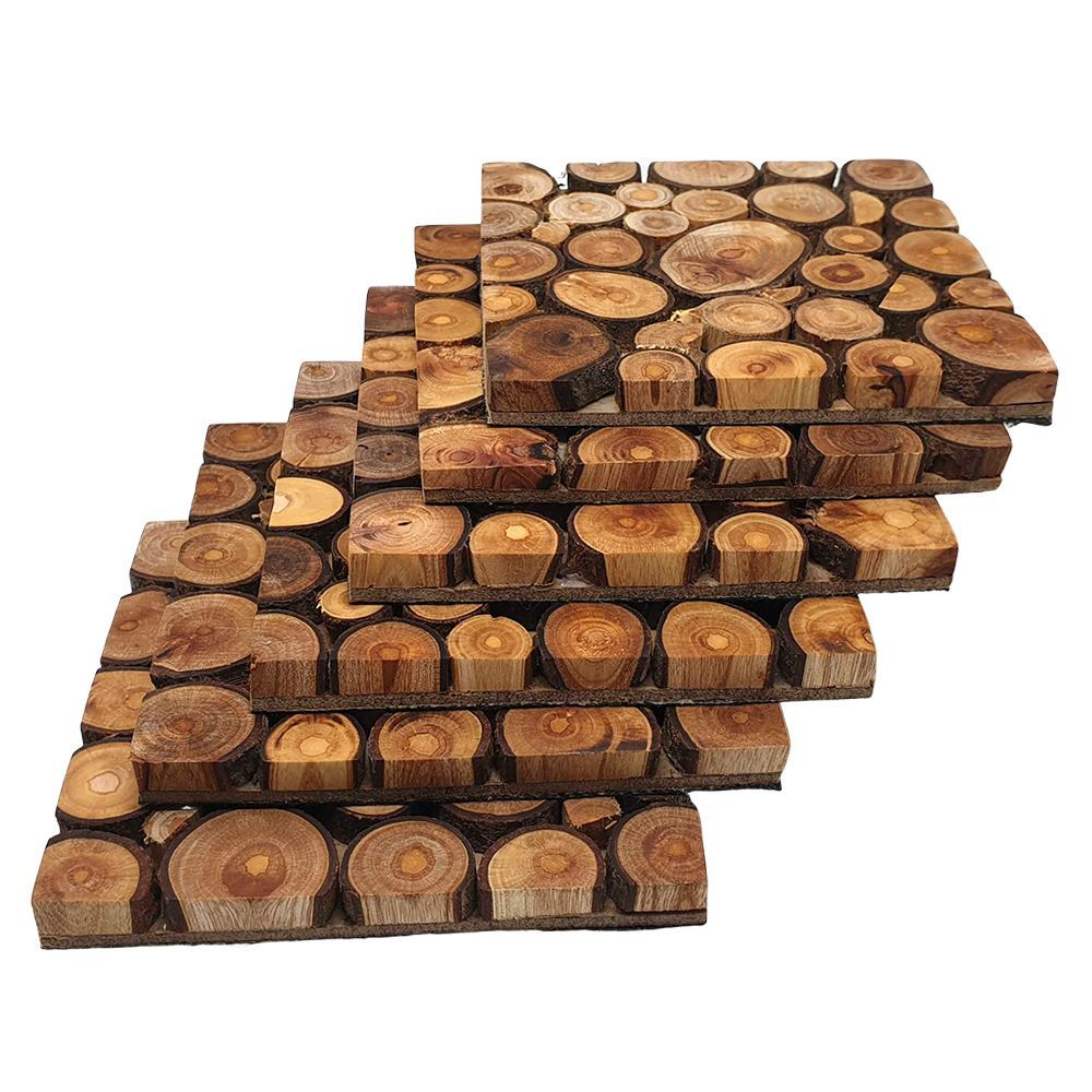 Vie Naturals Handmade Sliced Wood Coaster Set, Set of 6, 11 cm, Square