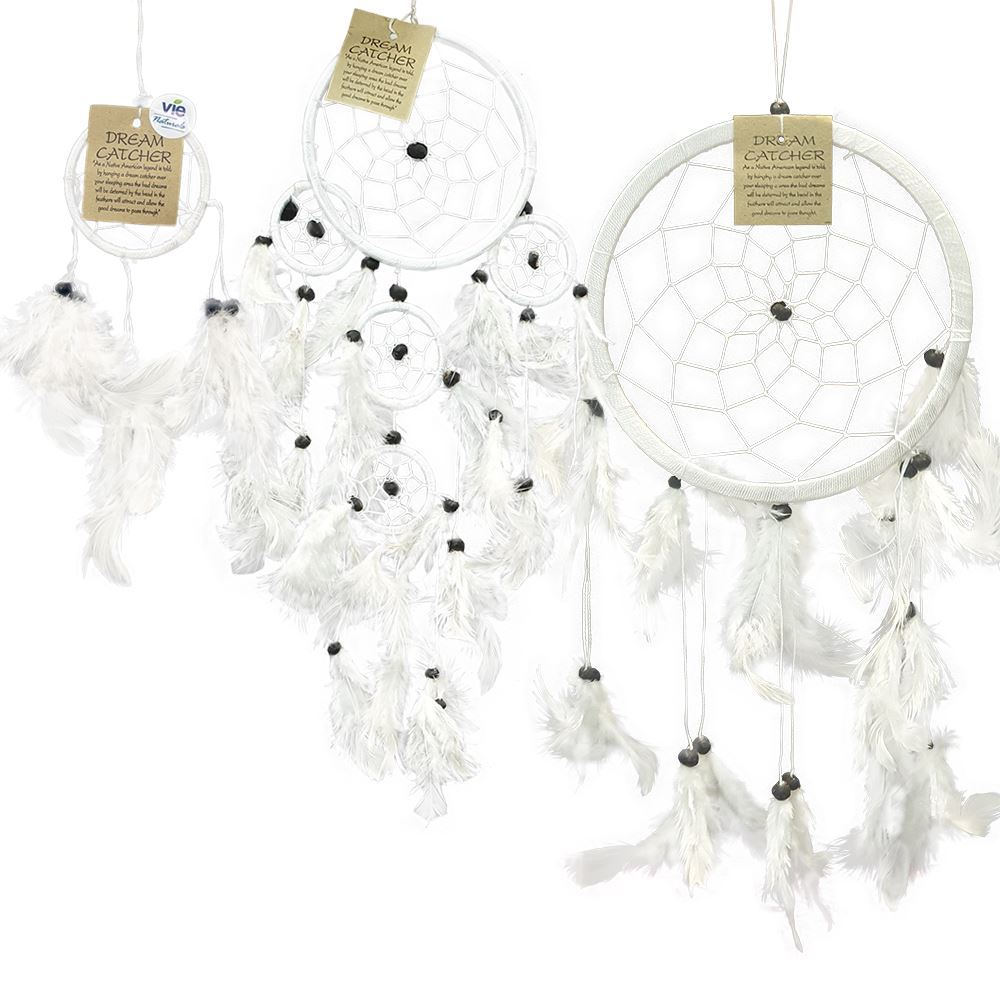 Vie Naturals Dream Catcher Bundle, 3 Items - 6cm, 11cm, 16cm (All White)