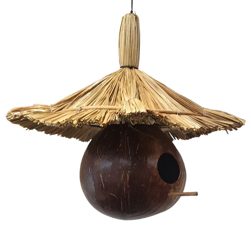 Vie Naturals Bird Feeder/House, Coconut & Straw, 35cm