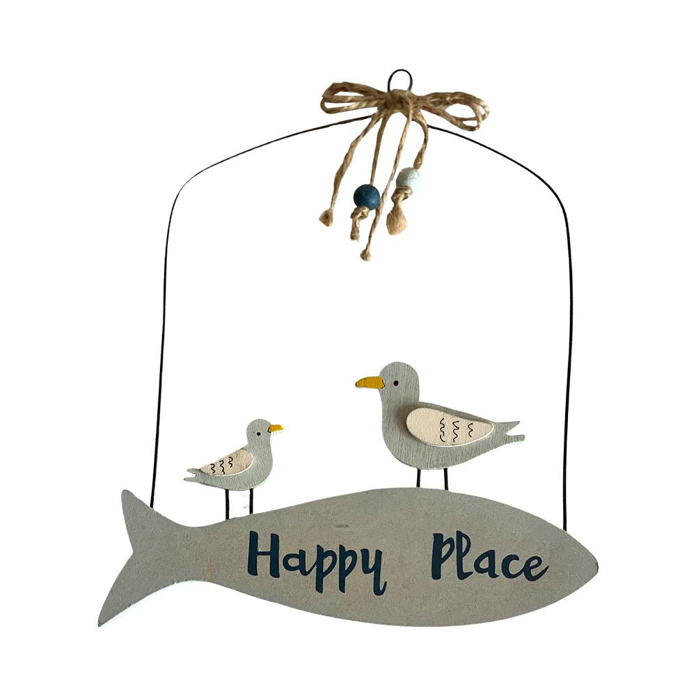 "Vie Naturals ""Happy Place"" Hanging Decor, 20x16cm"