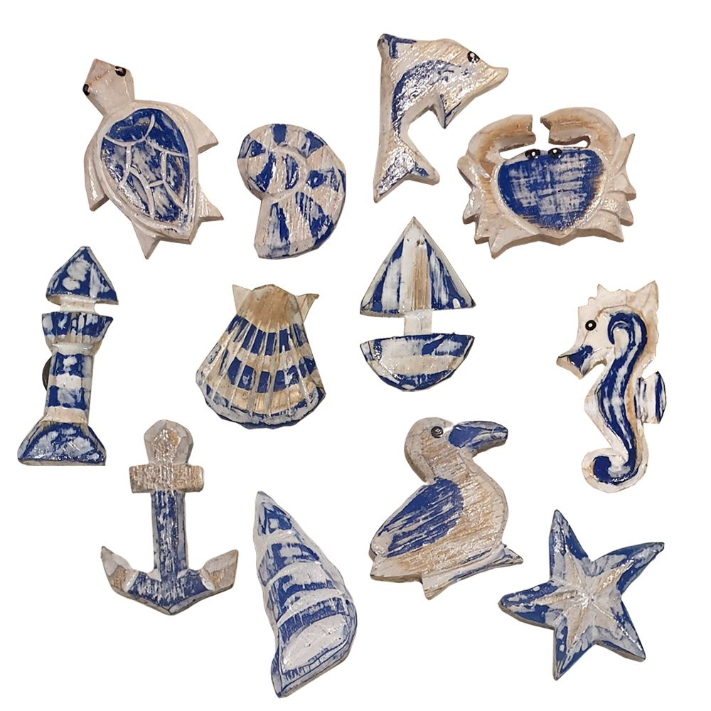 Vie Naturals Handmade Nautical Fridge Magnet, Set of 12, Assorted