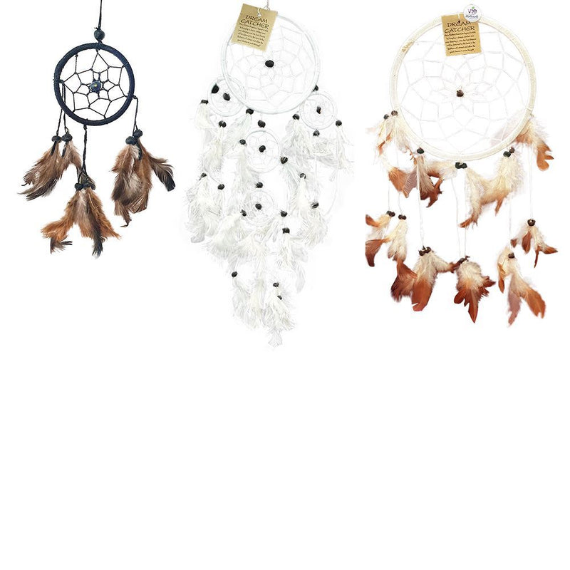 Vie Dream Catcher Bundle, 3 Items - 6cm (Black), 11cm (White), 16cm (Natural)