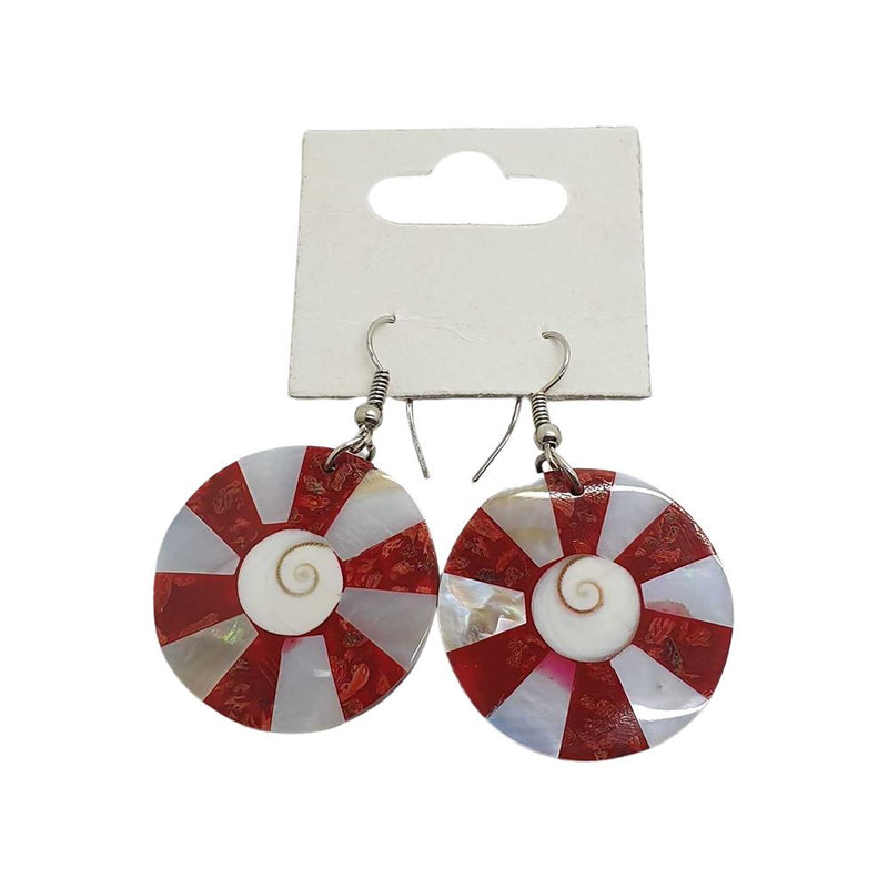Vie Naturals Red Circle Seashell Earring