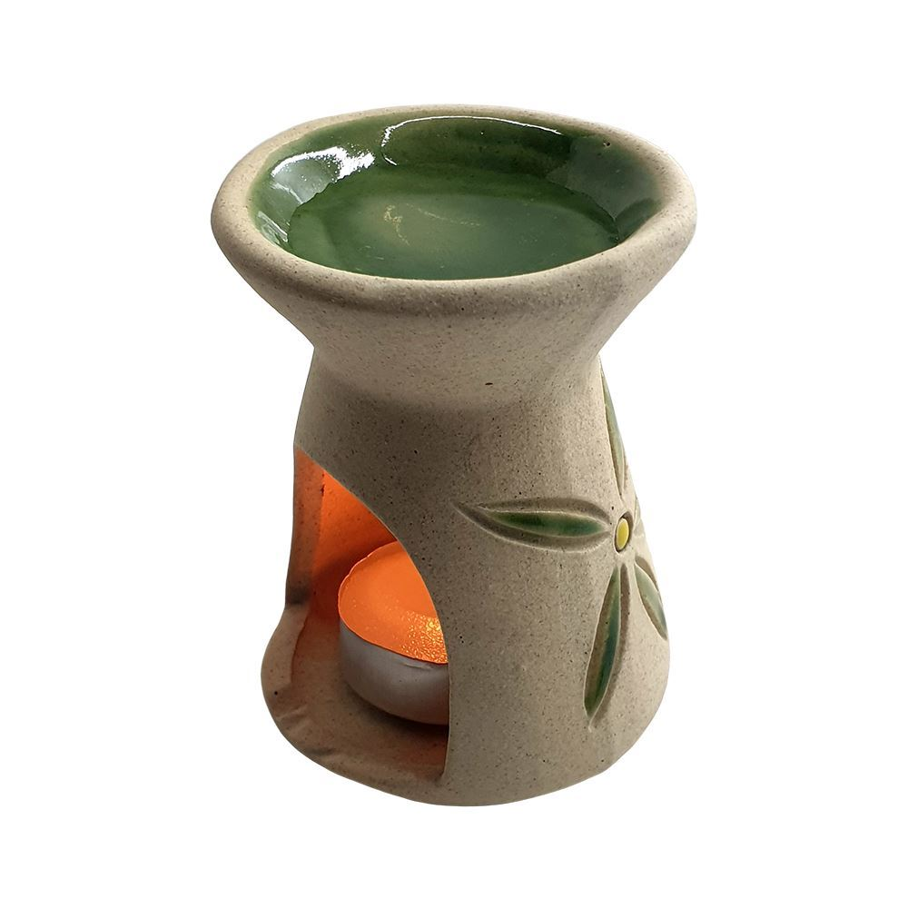 Vie Naturals Bali Ceramic Oil Diffuser, 9cm, with Tealight & 2 Bottles of Fragrance Oils