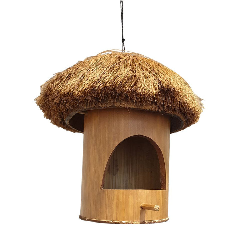 Vie Naturals Bird Feeder/House, Bamboo (HOUSE & Coconut, 30cm