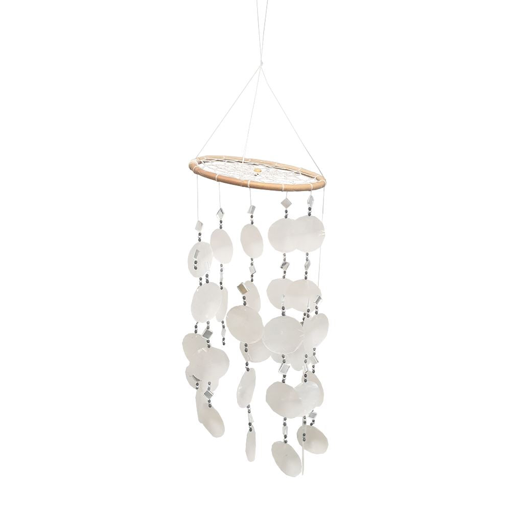 Vie Naturals Wind Chime, 45cm Hanging Height, White Capiz Shells with Black Beads