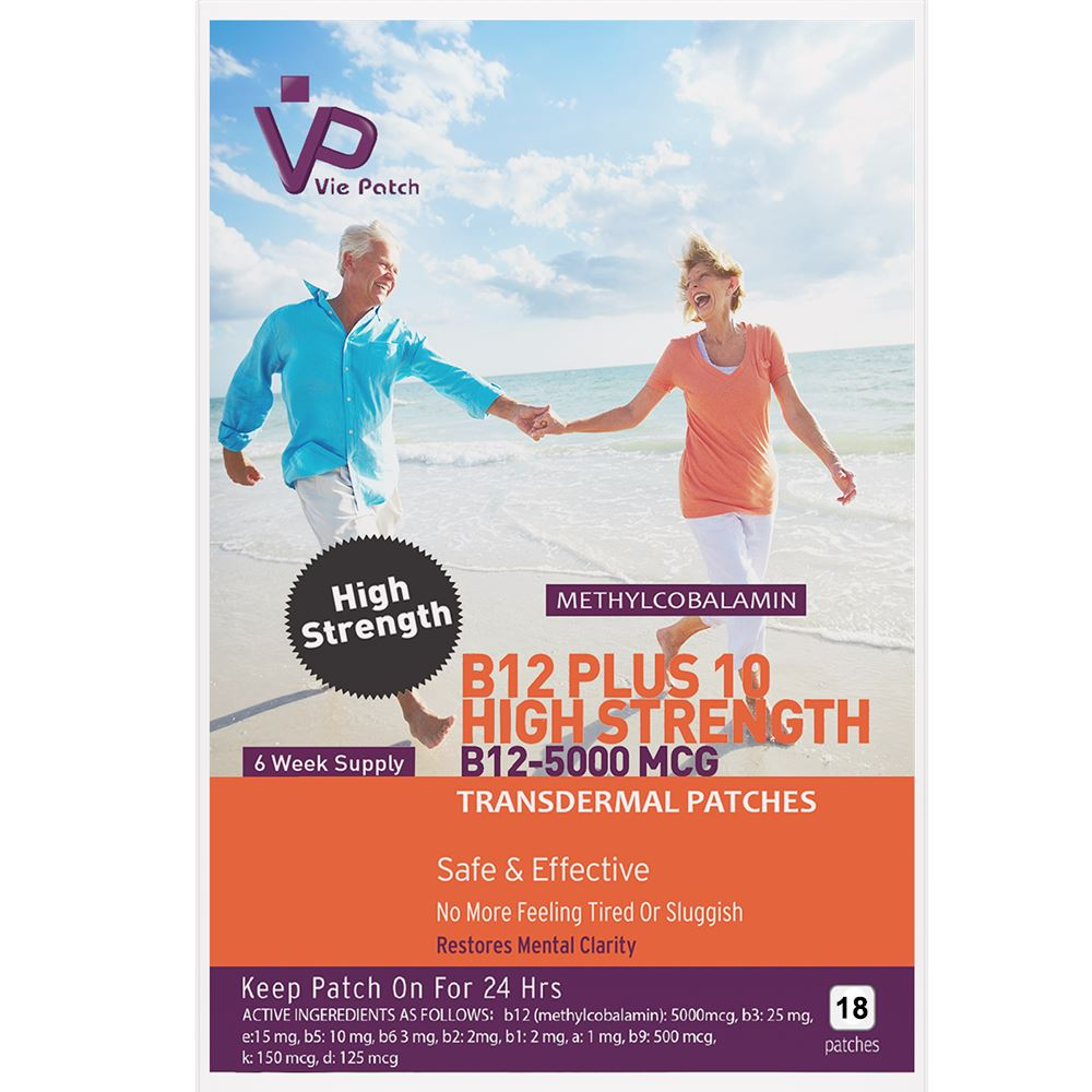 Vie Healthcare Vitamin B12 Plus 10 High Strength Patches, Health Care by Global 1st