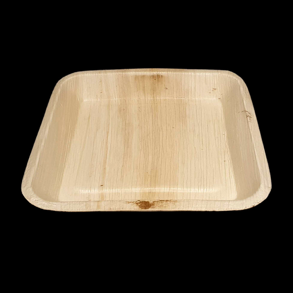 Vie Gourmet Biodegradable Square Palm Leaf Plate 24cm Natural, Disposable Plates by Global 1st