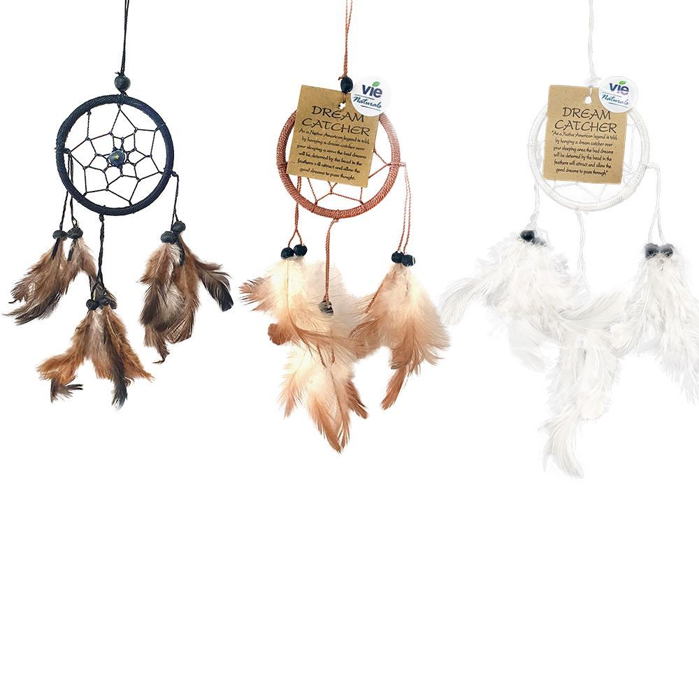 Vie Naturals Dream Catcher Bundle,  3 Items - 6cm Ring with Bead (White, Black & Brown, Black)