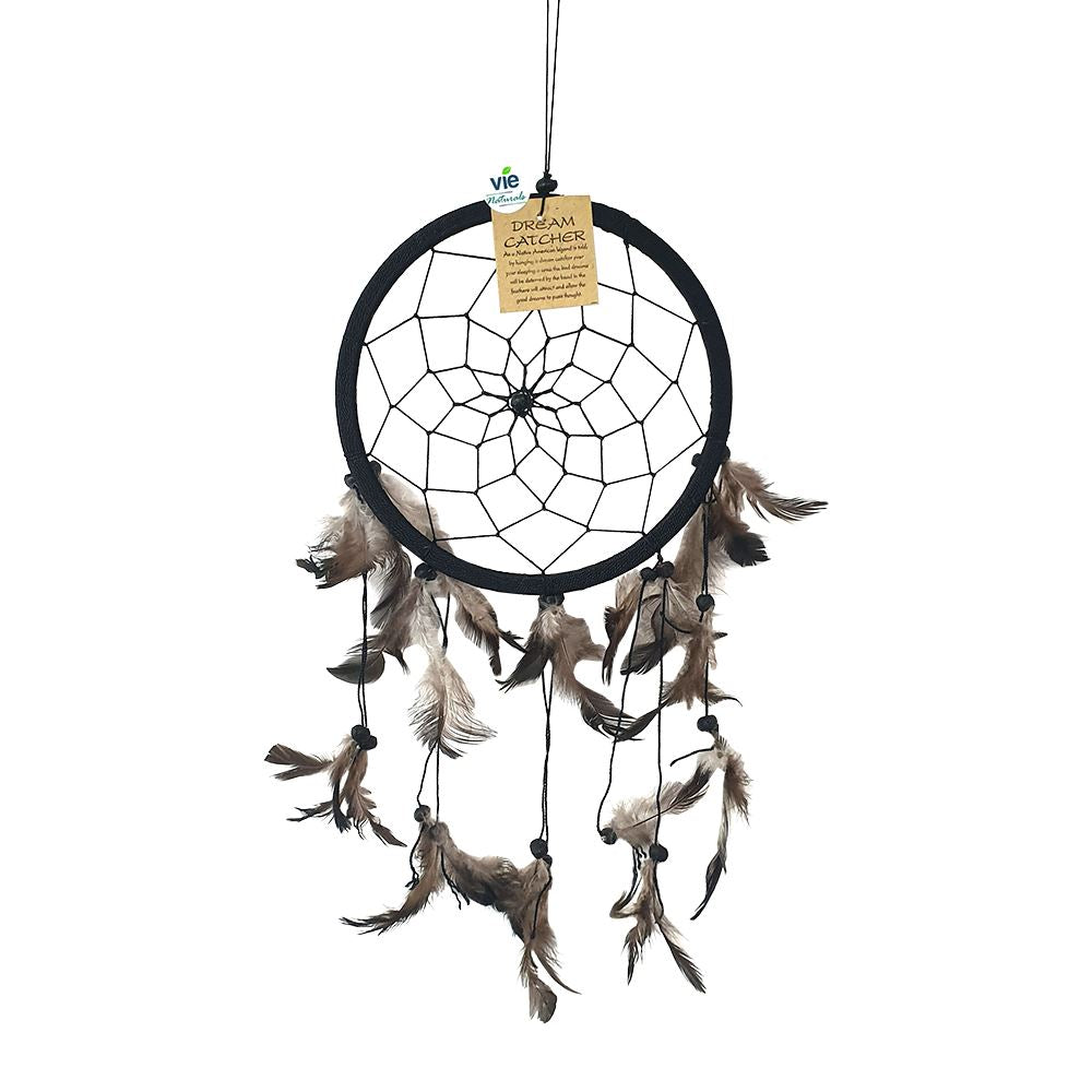 Vie Naturals Dream Catcher with Stone, 16cm Ring, Black