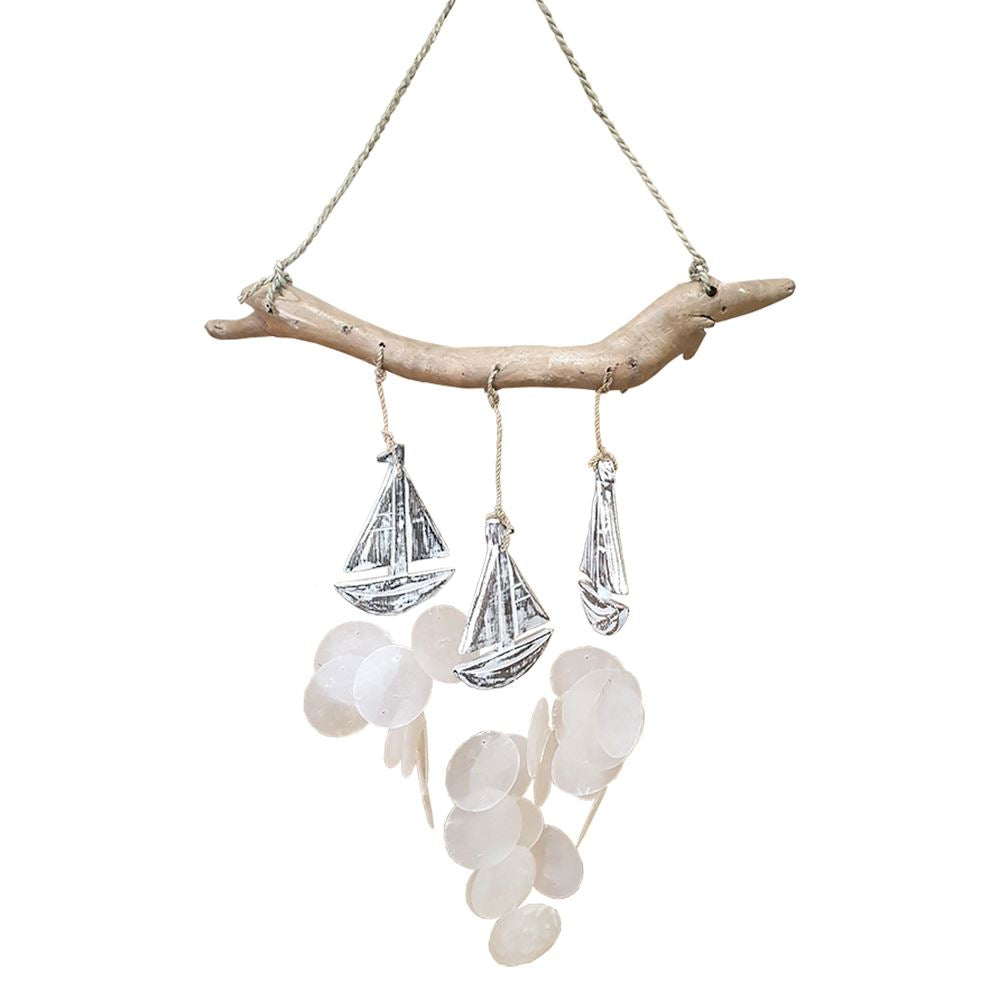 Vie Naturals Boat with Capiz Shell Wind Chime, 60cm Hanging Height