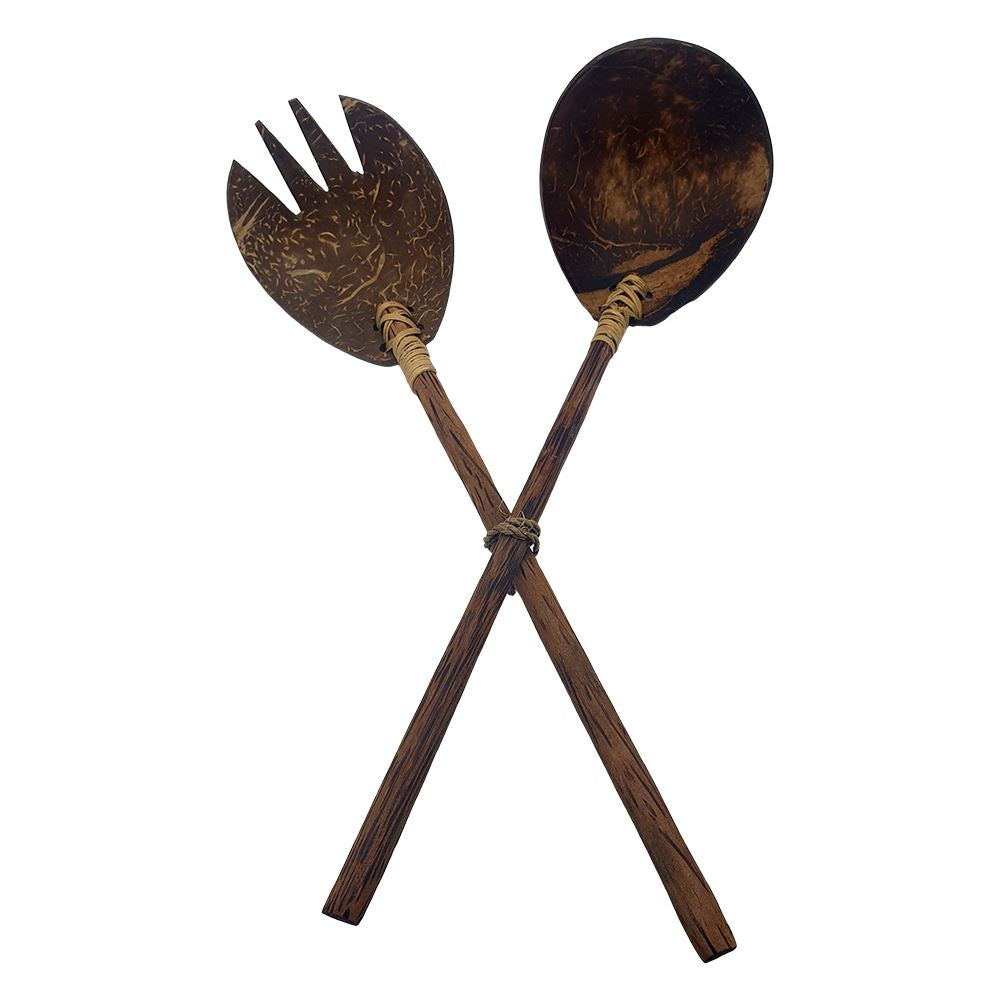 Vie Gourmet Sono Wood & Coconut Shell Salad Servers