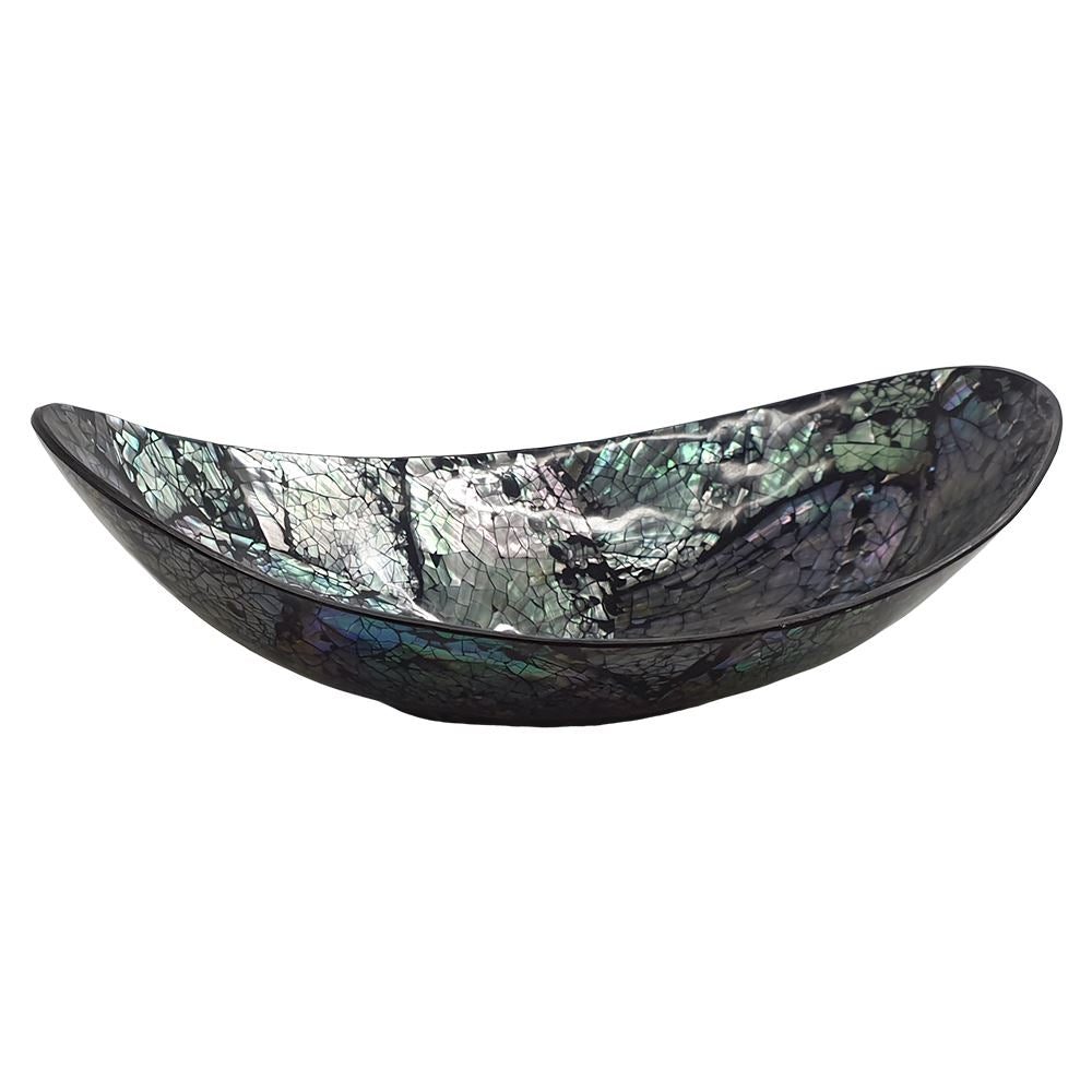 Vie Naturals Capiz Inlay Decorative Bowl, Boat Shaped, 18cm, Black/Silver